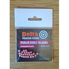 Perlas perforadas de 4 agujeros FLUORESCENTES ROJAS 3,3mm