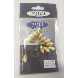 Perlas Flotantes Ovaladas YUKI - DORADO/FOSFI